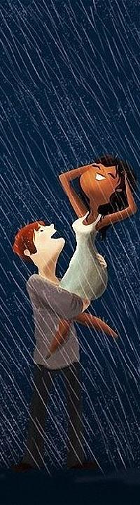 Аватар вконтакте Влюбленный парень поднял на руки счастливую девушку, подставившую свое лицо под струи дождя, художница Nidhi Chanani