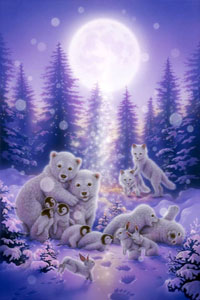 Аватар вконтакте Милые животные играют в снегу в полнолуние