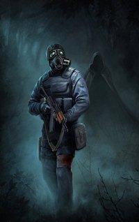 Аватар вконтакте Сталкер в противогазе с АКС-74У пробирается по сумеречному лесу, его преследует незнакомец в плаще