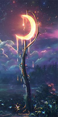 Аватар вконтакте Красивый ночной пейзаж в свете фонаря с месяцем вместо лампы