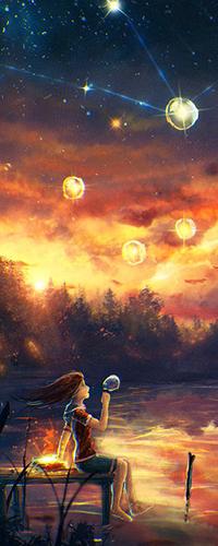 Аватар вконтакте Девочка сидит на пирсе и пускает в небо мыльные пузыри, красиво переливающиеся в лучах заката и отражающиеся в зеркальной глади пруда