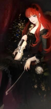 Аватар вконтакте Девушка со скрипкой и смычком в руках сидит на кресле