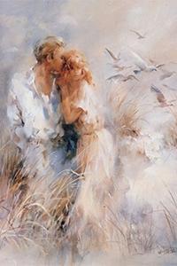 Аватар вконтакте Парень и девушка на лугу подняли стайку белых голубей в небо, художник Willem Haenraets