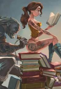 Аватар вконтакте Чудовище набивает татушку на попе красавицы, сидящей на стопе книг и увлеченно читающей любовный роман, по мотивам сказки Уолта Диснея