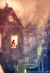 Аватар вконтакте Освещенное окно, в котором видны девушка и кошка на фоне панорамы ночного города, by Pascal Campion