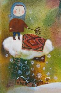 Аватар вконтакте Девочка выбивает коврик на облаке, из которого идет снег, by Anna Silivonchik