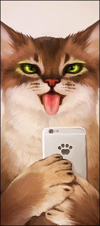 Аватар вконтакте Кот держит в лапах телефон и показывает язык, by Julia The Dragon Cat