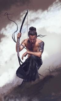 Аватар вконтакте Мужчина-воин с луком неподвижно сидит и смотрит на землю, by David-Seguin