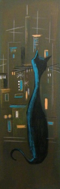 Аватар вконтакте Кошка сидит на подоконнике и смотрит на ночной город, by El Gato Gomez Art