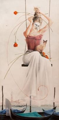 Аватар вконтакте Девушка в маске сидит на качелях с кошкой на коленях на фоне панорамы Венеции и вставляет цветы в прическу, by Chelin Sanjuan Piquero