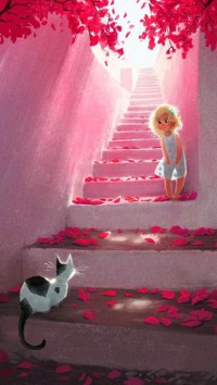 Аватар вконтакте Девочка и кошка смотрят друг на друга на каменной лестнице, by Janet Campbell
