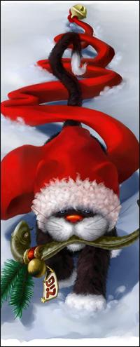 Аватар вконтакте Кот в новогодней шапочке с рыбой в зубах идет по снегу, by Harald Oesterle