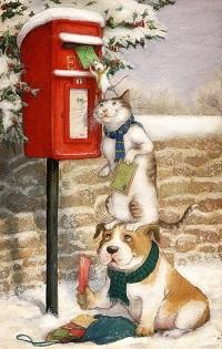 Аватар вконтакте Мышка стоит на голове кота, который стоит на голове собаки, и опускает письмо в почтовый ящик, by Petra Brown