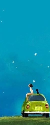 Аватар вконтакте Девочка и кошка сидят на крыше автомобиля и смотрят на звездное небо, by Pascal Campion