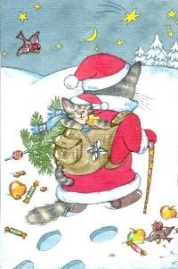 Аватар вконтакте Кот в костюме Деда Мороза с сумкой за плечами, в которой сидит котенок, идет по снегу, художник Алена Отто-Фрадина