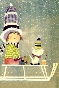 Аватар вконтакте Девочка и кот в вязаных шапочках сидят на санках, by Fiep Westendorp