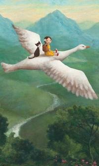 Аватар вконтакте Девочка и кот летят на белом гусе, by Stephen Mackey