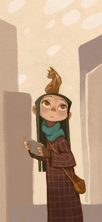 Аватар вконтакте Девочка с кошкой на голове ищет дорогу в городе, by Anna Cattish