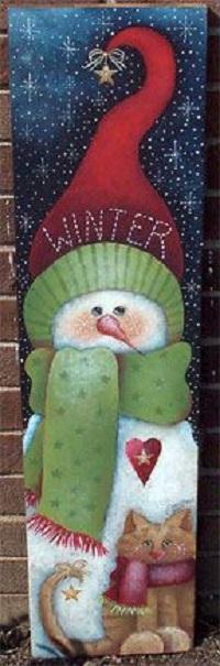 Аватар вконтакте Винтажная открытка с изображением снеговика в шапке и шарфе и кота в шарфе