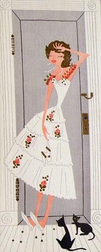 Аватар вконтакте Винтажная открытка с изображением девушки и двух черных кошек возле двери