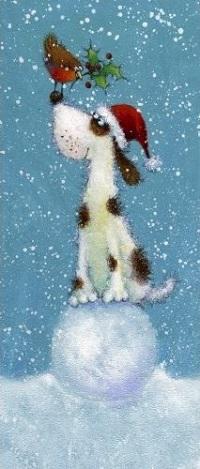 Аватар вконтакте Птичка сидит на носу собаки, которая сидит на снежном шаре, by Jan Pashley