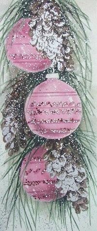 Аватар вконтакте Винтажная открытка: розовые шары на елке