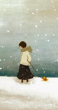 Аватар вконтакте Грустная девочка идет по снегу, ведя на веревочке игрушечного утенка, by Tashika Yui