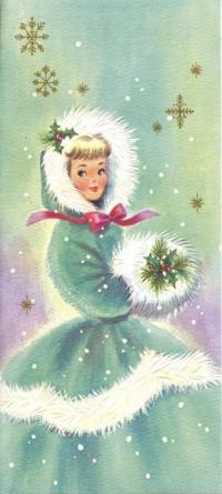 Аватар вконтакте Винтажная открытка: девушка в красивой одежде с цветком омелы