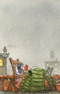 Аватар вконтакте Девочка с кошкой читает книгу, сидя под одеялом в кресле на крыше под падающим снегом, by Jonathan Bean