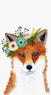 Аватар вконтакте Лиса с цветами на голове, by zuhalkanar
