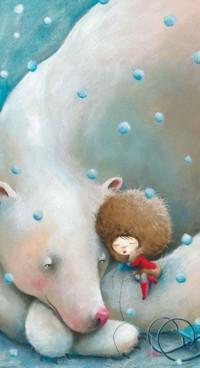 Аватар вконтакте Девочка в большой шапке спит на лапе белого медведя, by Sonja Wimmer