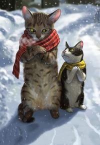 Аватар вконтакте Два котика в шарфах зябко ежатся на холоде, by Mata Taku
