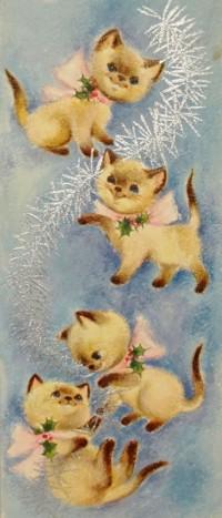 Аватар вконтакте Винтажная открытка: котята с бантиками играют елочным дождиком