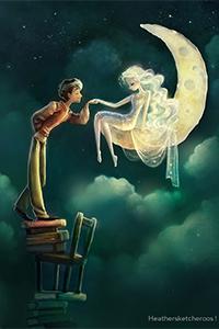Аватар вконтакте С неустойчивой подставки из стульев и книг парень целует ручку девушке сидящей на луне, художник Heathersketcheroos