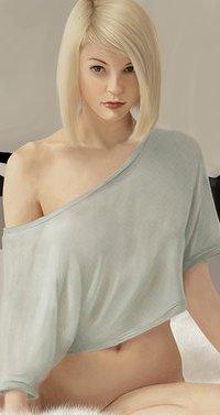 Аватар вконтакте Девушка-блондинка сидит на кровати, by Kiowa7