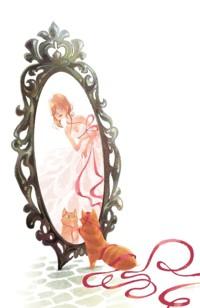 Аватар вконтакте Девушка заглядывает в зеркало на кошку, которая нацепила на себя красную ленту и любуется своим отражением, by Brittney Lee