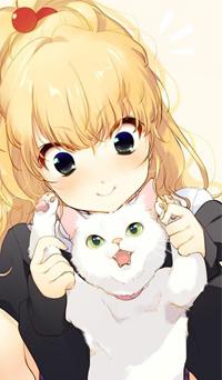 Аватар вконтакте Девушка держит за лапки белую кошку