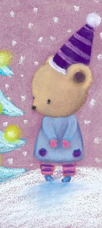 Аватар вконтакте Медвежонок в колпаке смотрит на новогоднюю елку