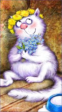Аватар вконтакте Белая кошка в веночке из одуванчиков держит в лапах букет незабудок и о чем-то мечтает, художница Рина Зенюк