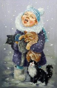 Аватар вконтакте Девочка с кошками ловят языками снежинки, художник Кира Панина