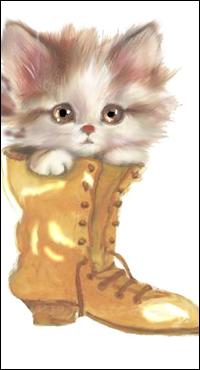 Аватар вконтакте Пушистый котенок сидит в старом сапоге