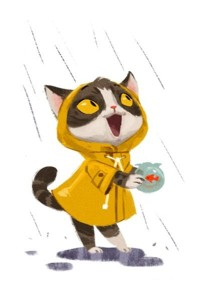 Аватар вконтакте Кот в желтом дождевике собирает дождевую воду для рыбки в аквариуме, by Celine Kim