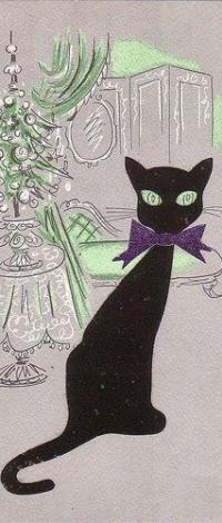 Аватар вконтакте Черный кот с бантом на шее