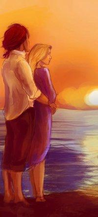 Аватар вконтакте Влюбленные стоят у моря на фоне заката