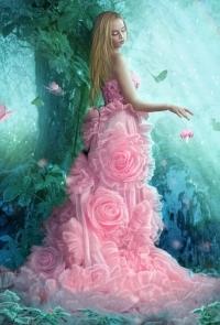 Аватар вконтакте Девушка в розовом платье в цветах