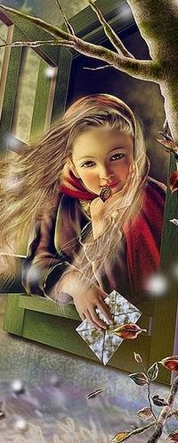 Аватар вконтакте Девочка с конвертом в руке и листом с дерева в губах, мечтательно выглядывает из окна, японская художница Yokota Miharu (Йокота Михару)