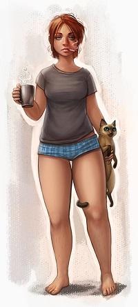Аватар вконтакте Сонная девушка с сигаретой, чашкой кофе и котом, by Nastya Chorna