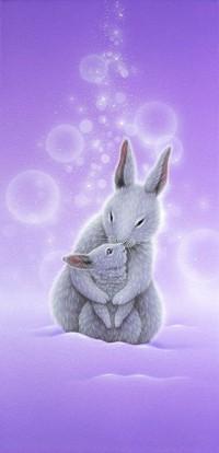 Аватар вконтакте Зайчиха обнимает зайчонка, by Kentaro Nishino