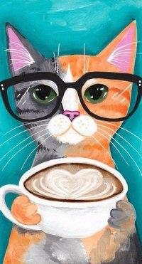 Кот в очках нарисованные