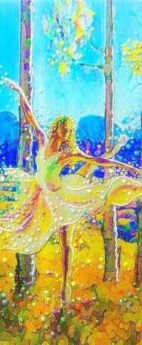 Аватар вконтакте Девушка в танце стоит среди деревьев, художница Julia Watkins